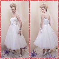 adorn beach shorts - Sweetheart Pleated Handmade Flowers Adorned Wedding Dresses Tea Length Short Bridal Gowns Custom Vestidos De Novia Crystal Sash Beach