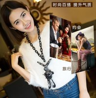 beaded station necklace - Europe station Autumn latest fashion trends Meng Fan children beaded cloth lips Arts in wild rabbit sweater chain necklace