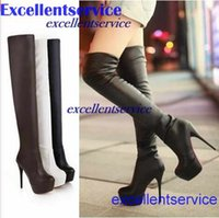 Cheap Fashion Sexy High Heels Red Bottom Shoes Over Knee High Boots Fashion Women Round Toe Platform Winter boots Autumn shoes