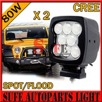 Wholesale 2PCS W LED Work Light CREE Driving Light Offroad Spot Flood Off road Worklight x4 Truck Tractor Car fog lamp W W