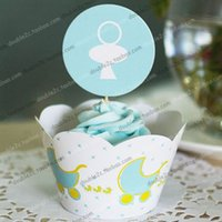 baby shower cake topper - Baby Feeder cupcake wrappers decoration birthday party decorations favors for kids cup cake toppers Baby shower party supplies