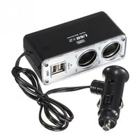 Wholesale Brand New Double USB Port Way Car Cigarette Lighter Socket Splitter Charger Adapter FREE DHL