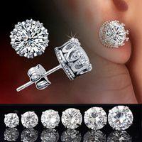 zirconia stud earrings - Luxury Lady s silver AAA Cubic Zirconia Diamonique Crown Set Stud Earrings
