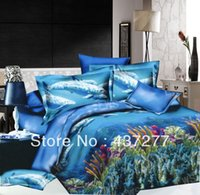 bags seaweeds - dolphin seaweed print d blue bedding sets for full queen polyester flat sheet duvet cover bedclothes bed in a bag comforter set