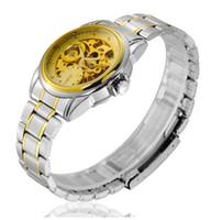 Cheap Luxury Hollow Dial Men Gold Watch Metal Band Mechanical Watches 80M Waterproof Full Hand Winding Brand Wrist Watches