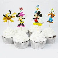 Wholesale New Arrival Cute MK Mouse Cake Decorating Tools Fruits Cupcake Inserted Card Stands For Kids Birthday and Xmas Decoration Supplies
