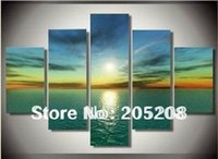 Cheap Framed 5 Panels Large Green Sea Oil Painting on Canvas 5 Panel Wall Art Picture Interior Decoration Home H00016