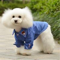 Wholesale Pet Apparel dog clothing shitr Dot denim shirt Dog Supplies blue Pet shirt summer dogs shirt cheap ZQ
