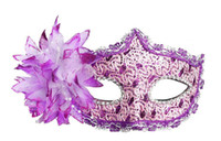 Wholesale 20 Half Face Side flower Masquerade Mask Princess Lily Sexy Venetian Lace masks Halloween Carnival Dress Ball Deco Birthday Party Mask