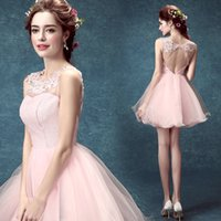 Wholesale Pink Homecoming Dresses Ball Gown Scoop Short Mini Organza Lace Beads Sequins Prom Dresses W5315