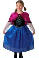 Cheap new 2015 Frozen Fashion Girl Elsa Blue Dress Kids Summer Gauze Clothing Princess Short Sleeve White Lace Party dress Movie Cosplay Costume