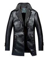 Wholesale Fall Father Leather Fur Men s Jacket New Winter Jacket Elderly Male With Velvet Warm Coat Mens Sheepskin Jackets Avirex Pilot Jacket