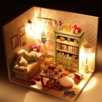 Wholesale DIY Wood Lazy Time Design Dollhouse Miniature LED Furniture Handmade Room Kits