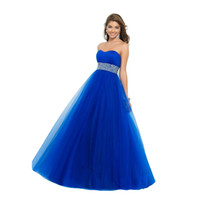 Wholesale 2015 New Arrival Prom Dresses Sweetheart Beaded Empire Waist Tulle Princess Style Ball Gown Royal Blue Elegant Ladies Wedding Dress WI31