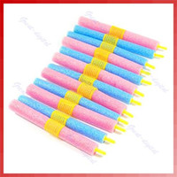 Wholesale Soft Bendy Foam Curlers - 12pcs set Soft Foam Anion Bendy Hair Rollers Curlers Cling Hair Styling Tool DIY Curly Hair at Home