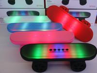 Wholesale Mini portable wireless bluetooth hifi music Speaker skateboard Scooter LED Lights Stereo TF Card U Disk for mobile phone free DHL