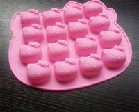 achat en gros de savon de moules-Hot belle Bonjour Kitty en silicone Moule à chocolat four micro-ondes poêle moules à gâteaux de cuisson des bonbons à la gelée moule Silicon savon 3D plat de crème glacée