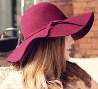 Wholesale Fashion Floppy Hats Vintage Felt Hat Female Autumn Winter Waves Large Brim Sunbonnet Fedoras Sun Hat Red