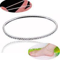 Cheap Elegant and refined 1~5 rows stretch anklet anklet jewelry Crystal Rhinestone STRETCH CZ Tennis Ankle Chain Bracelet SEXY anklets