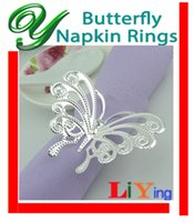 Wholesale silver Napkin Rings butterfly Napkin Ring wedding napkin holder Christmas Decoration Holiday table dinnerware medal ring for napkin