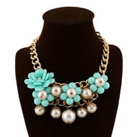 Wholesale 2015 Fashion Collar chunky choker Bohemia style Handmade Statement Pearl Beaded necklace Flower Jewelry For Women