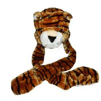 attached hat scarf - IMC Kids TIGER BROWN Plush Winter Hat attached Scarf Mitts order lt no track