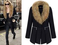 Wholesale New Style Women s Black Colors Winter Warm Woolen Coat Winter Middle Long Overcoat Ladies Wool Bleed Jacket Coat Outwear With Fur Collar
