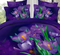 al por mayor colcha púrpura completa-3D flor floral púrpura lecho conjunto edredón cubre colchas súper rey tamaño reina doble completo equipada sábanas de algodón quilt bedsheet 6pcs