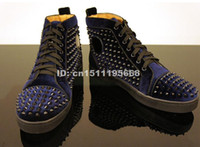 men high top shoes - Hot sale new arrivals high quality discount dark red blue rivets spikes velvet shoes top fashion mens brand casual shoes