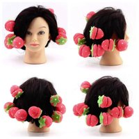 Wholesale Rollers Curlers Strawberry Balls Hair Care Soft Sponge Lovely DIY Tool WholesaleTY195