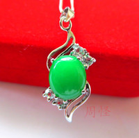 Wholesale Hot Sell Tibet Silver Green Jade Malay jade pendant Necklace Crystal Pendants Silver necklaces Bridal Jewelry for wedding dress