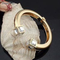 Wholesale Fashion High Quality Alloy Square Crystal Bangles Bracelets Gold And Silver Color C Design Cuff Jewelry BL126