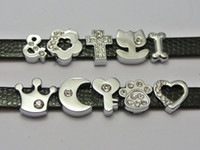 Wholesale 10 Assorted Silver Alloy Flower Cross Heart Slide Charms Fit mm Wristband