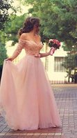 Wholesale Romantic Tulle A line Wedding Dress Backless Off the shoulder Plus size Lace Wedding dress Half sleeve bow Sweetheart