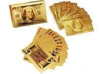 Wholesale Durable Waterproof Plastic Playing Cards Gold Foil Poker Golden Poker Cards Gold Foil Plated Playing Cards Poker Table Games