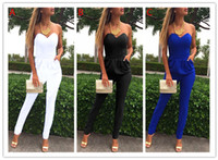 Wholesale Women Jumpsuits Solid V neck Bra Leakage Shoulder Folds Pocket Sexy Fashion Jumpsuit Shoulder Sliming Tube Top Romper