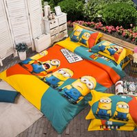 Wholesale Minion print cotton bedding set twin queen king size home textile with reversible duvet cover flat sheet pillowcase pc comforter set