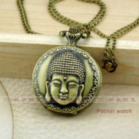 Wholesale 2014 New Arrive Antique Vintage X37MM Buddha Quartz Men Women Pocket Watch Pendant Necklace necklace unique