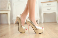 Wholesale Shiny Gold Blue And Silver Women Sandals High Heel CM Platform Hell Party Shoes Fashion Summer