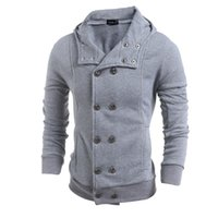 Cheap New Autumn And Winter Men's Vogue Double Breasted Outerwear Fashion Stylish Hooded Hoodies Cardigan Mens Overcoat tops
