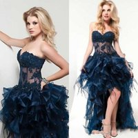 belly images - Sexy Special High Low Asymmetrical Train Organza Elegant Cocktail Party Dress Sweetheart Sheer Belly Court Train Backless Prom