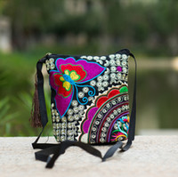 Wholesale Women Bucket Messenger Bags National Double sided Embroidery Canvas Small Mini Sling Shoulder Crossbody Bag Pouch Bolsos Mujer