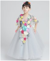 advance ankle - Advanced flower fairy dresses For years old girls Embroidered Applique Floor length Dresses