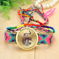 Wholesale 8 Colors New Brand Handmade Braided Elephant Friendship Bracelet Watch GENEVA Watch Ladies Quarzt Watches relogio feminino A5