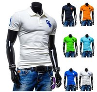 Wholesale 2015 Direct Selling Short Sleeve Cotton Blend L M Xl xl Green Blue Navy Summer New Slim Casual Short sleeved Polo Shirt Embroidered Men