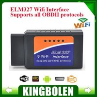 Wholesale 2015 Latest Version ELM327 WIFI OBD2 OBDII Auto Diagnostic Scanner Tool ELM WiFi Diagnostic Tool