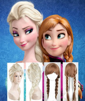 Wholesale free by dhl or fedex Frozen wigs most popular cartoon girl Hair Wigs adult Cosplay Wig Elsa princess white fluffy long hair