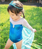 Wholesale Children One Piece Bathing Suit Summer Elsa Anna kids Transparent sleeves Printing Girl Dress Swimwear YY356