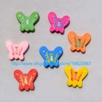 Wholesale Shipping Free DIY Jewelry Fittings MM cartoon Butterfly With Printed Mix Color wooden beads