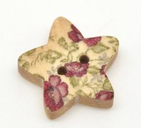 Cheap Wholesale 100 Star Shape 2 Holes Wood Sewing Buttons 18x17mm Over $115 Free Express